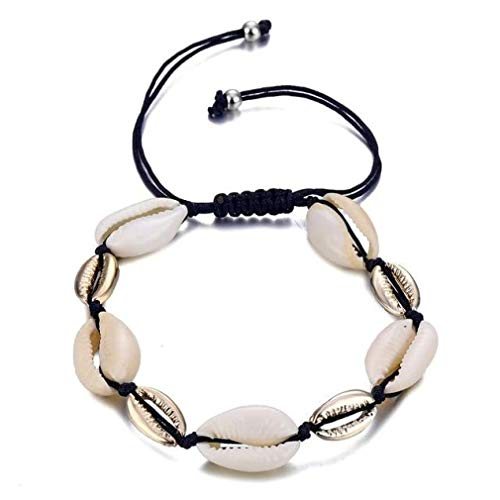 CosMos777 Gold Color Cowrie Shell Delicate Rope Chain Beads Charm Bohemian Beach Bracelets for