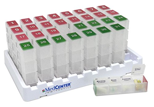 Monthly Medication Organizer For Drawer or Lock Box With 31 Pill Boxes and 4 daily compartments by MedCenter