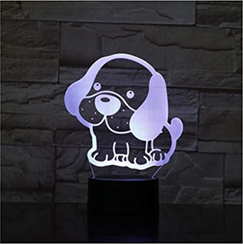 Suwhao Leuke hondenbed, grote led-oorstekers, nachtlampje, 3D-nachtlampje, 7 kleuren