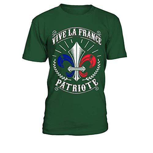 TEEZILY T-Shirt Homme Vive la France Patriote - Vert Bouteille - 3XL