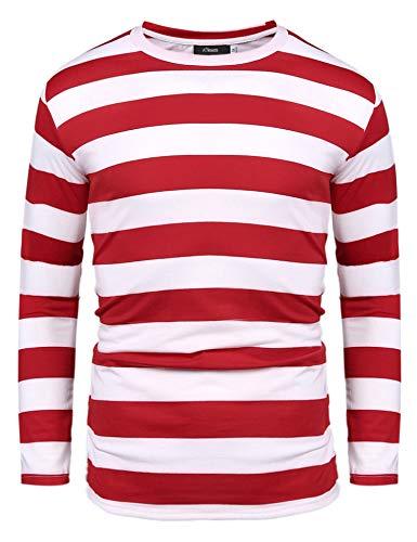 Herren Gestreiftes Shirt Longsleeve Leicht Basic mit Rundhals Ausschnitt (Rot, XXL)