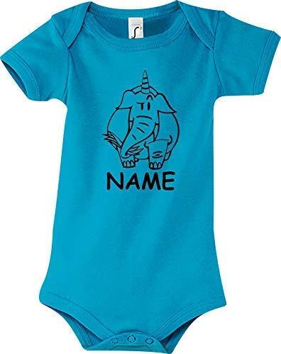 Shirtstown Body Bébé Drôle Animal Nom Souhaité Einhornelefant,Licorne,Éléphant - Bleu Clair, 18-24 Monate