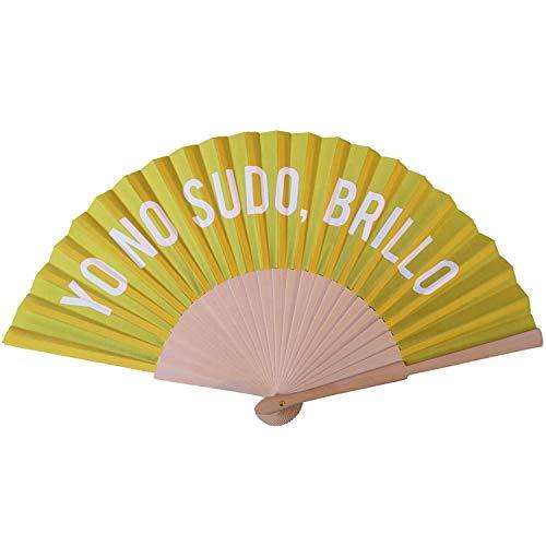 FISURA | Abanico de Tela y Madera con Diseño Original. Accesorio de Verano para Mujer/Hombre. Para Bodas y Eventos o como Detalle Para Invitados.
