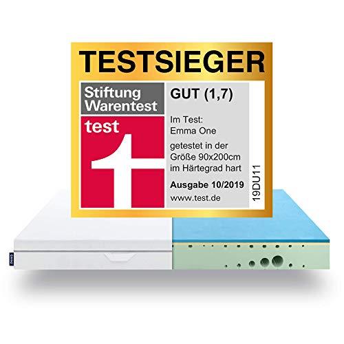 EMMA One Matratze TESTSIEGER 2019 - Stiftung Warentest 10/2019-7 Zonen HRX-Schaum Matratze - 90x200 cm, Liegegefühl Hart