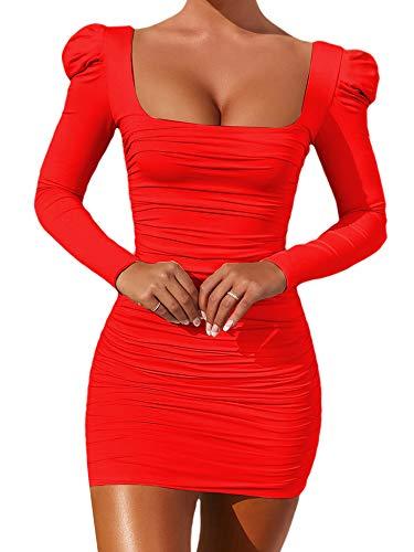 Vestido Ajustado para Mujer Mangas Largas Soplo Vestido Moderno con Arruga Color Sólido Vestido Mini Cuello Cuadrado para Fiesta Club (Rojo, XS)