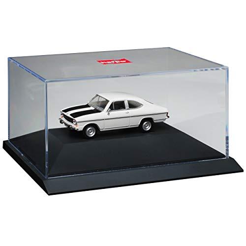 Opel Kadett B Coupe Rallye 3 Türer Weiss mit Schwarz 1965-1973 mit Sockel und Vitrine H0 1/87 Herpa Modell Auto