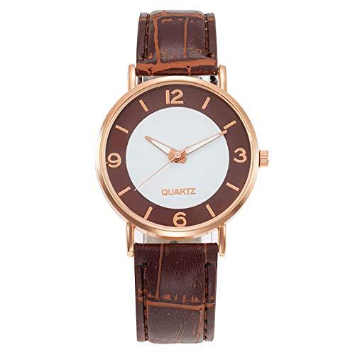 JZDH Relojes para Mujer Mujeres Black Watch Banda de Cuero Acero Inoxidable Reloj de Pulsera de Cuarzo Dama Mujer Relojes Casuales Relojes Decorativos Casuales para Niñas Damas