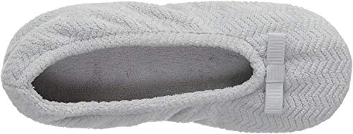Women's Chevron Microterry Ballerina House Slipper with Moisture Wicking and Suede Sole for Comfort
