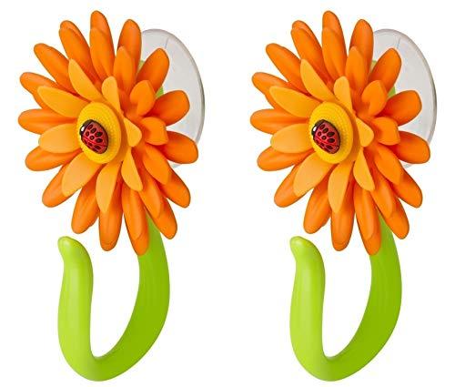 VIGAR Flower Power Gancho con Ventosa, PP, Goma, PPN, PVC Friendly, Naranja y Verde, Dimensiones: 8 x 5 x 12 cm, 2 Unidades