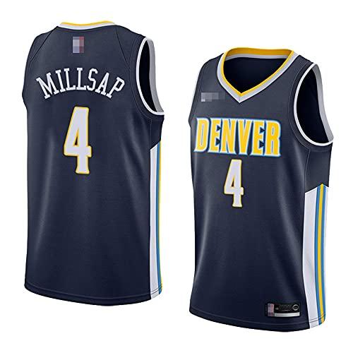YZQ Jerseys De Baloncesto De Los Hombres, NBA Denver Nuggets # 4 Paul Millsap - Camiseta De Ropa Sin Mangas De Deporte Clásico, Tops De Uniformes De Tela Confort,Azul,XL(180~185CM)