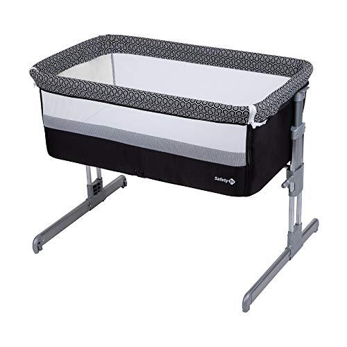 Safety 1St Calidoo Culla Fianco Letto, Co-sleeping, con Reclinazione e 7 Altezze, Lettino da Viaggio per Neonato, Bianco e Nero