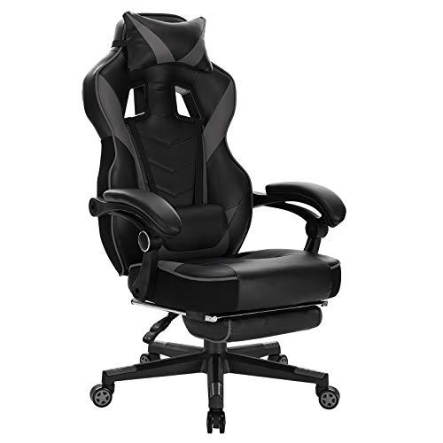 WOLTU Gaming Stuhl Racing Stuhl Bürostuhl Chefsessel Arbeitsstuhl Schreibtischstuhl Computerstuhl PC Stuhl mit Rollen Kopfkissen Lendenstützte Fußstützte aus Kunstleder Grau BS94gr