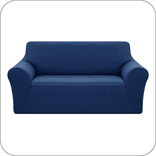 UMI. by Amazon Sofaüberzug Jacquard Sofabezug Stretch Sofahusse Couchhusse Wohnzimmer 2-Sitzer Blau
