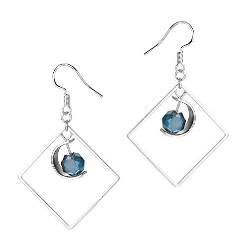 Pendientes largos de plata de ley 925 para mujer, diseño de luna con cuadrado, con circonitas azules