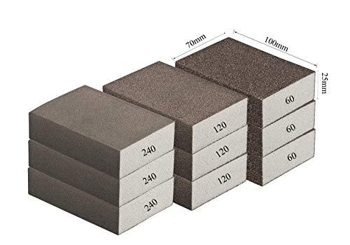 Spugna abrasiva a blocco, grana fine, media, grossa, per fai da te, smerigliatrice manuale, di alta qualità e adatte per diversi materiali, 3 x 60/120/240