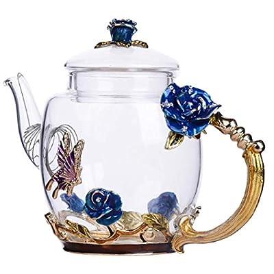 Safe Durable Floral Glass Teapot with Gold Leaves Edge Colourful Flower Pattern Floral Vintage Teapot Tea Party Set (Blue)