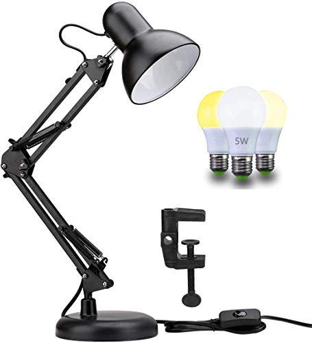 Home-Neat Retro Leselampe mit Gelenk-Arm aus Metall, Dimmbare 5W LED Glühbirne inbegriffen, Schreibtischlampe Arbeitsplatzlampe Schreibtischleuchte, Schwarz