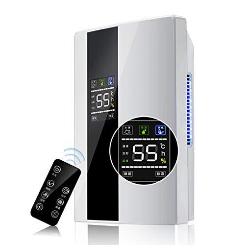 KKDWJ Deshumidificador 2200ml,con Pantalla de Humedad Digital Función de Control Remoto Modo de Reposo Drenaje Continuo Secado de lavandería y Temporizador de 24 Horas Ideal