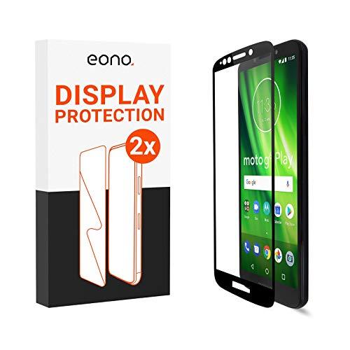 Amazon Brand – Eono 3D Panzerglas kompatibel mit Moto G6 Play - Schutzglas mit 100% Display-Abdeckung gegen Displaybruch - 9H, Full Cover - 2 Stück