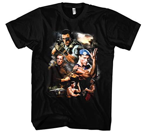 Jean Claude Van Damme Männer und Herren T-Shirt | Vintage JCVD Retro Kult (L, Schwarz Druck:Bunt)