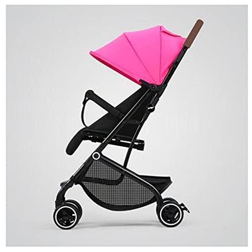ZKK Cochecito de bebé, se puede sentar en un cochecito plegable de luz reclinable, amortiguador de cuatro ruedas cochecito recién nacido para caminar, sol y lluvia, ir de compras. (color: rosa)