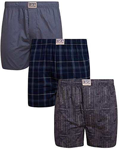 Lucky Brand Men's Woven Cotton Elastic Waist Boxer with Functional Fly (3 Pack), Indigo Plaid/Grey/Blue Print, Size Large