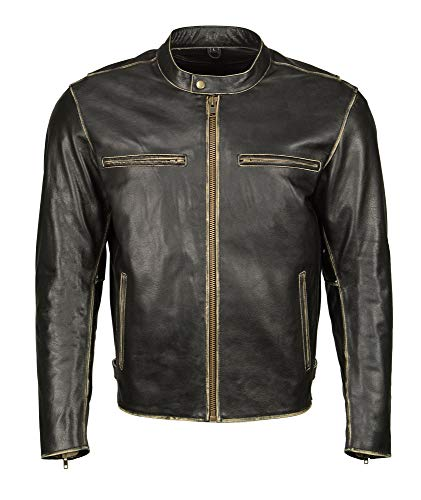 M Boss Motorcycle Apparel BOS11504 Mens Distressed Black Leather Moto Jacket with Snap Collar - 3X-Large