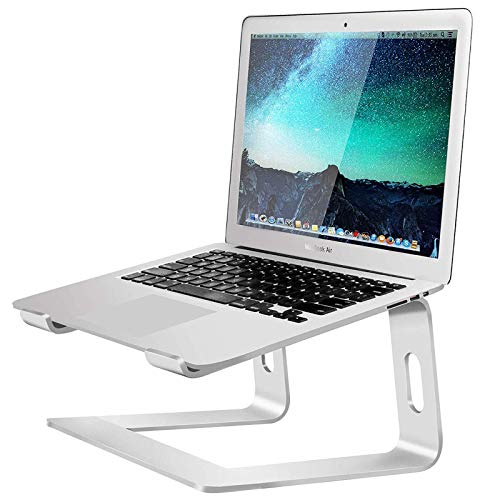 Laptop Stand, Ergonomic Laptop Riser, Aluminum Laptop Holder Cooling Stand Compatible for MacBook Pro/Air, HP/Dell/Lenovo/Samsung, 11-15.6' Notebook and Tablet-Silver
