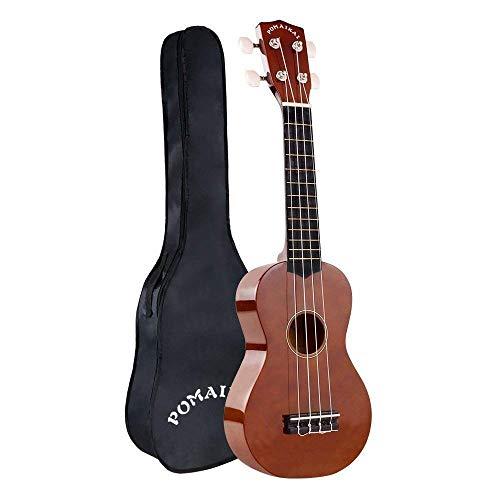 POMAIKAI Sopran Ukulele Uke 21 Zoll Hawaii Gitarre mit Tasche für Kinder und Anfänger (braun)