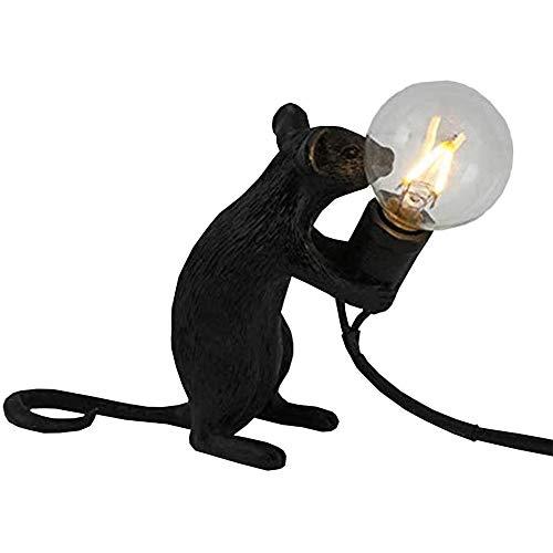 Lámpara de Mesa con Forma de Ratón, Resina Creativa, Lámpara de lectura, es la luz Perfecta Para el Hogar y Cualquier Lugar Que Ames- Postura sentada Negro