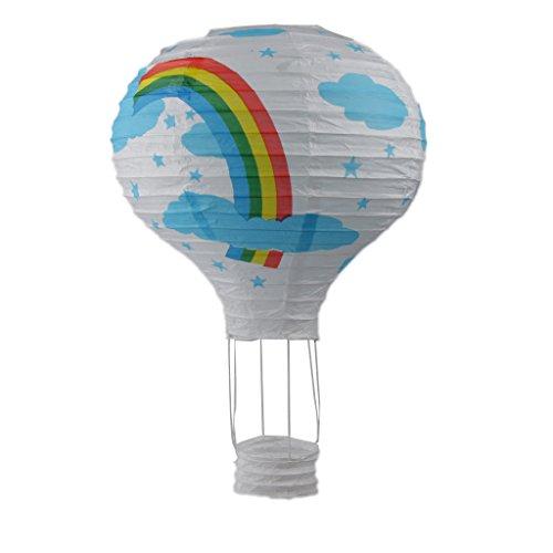MagiDeal Landschaft Heißluftballon Luftballons Papierlaterne Parteidekor 12 Zoll 30cm - Weiß Rainbow