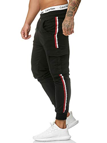 OneRedox Herren | Jogginghose | Trainingshose | Sport Fitness | Gym | Training | Slim Fit | Sweatpants Streifen | Jogging-Hose | Stripe Pants  Modell 1318 Schwarz XL