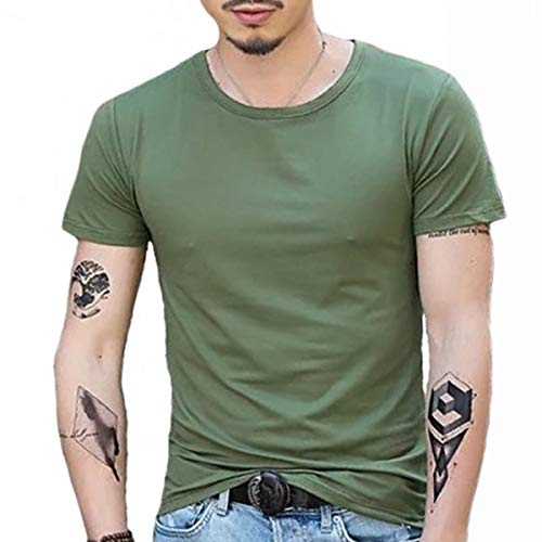 XZHBD Hombres Camiseta De Algodón De Manga Corta Floja Transfronterizo Los Hombres De La Camiseta De Cuello Redondo