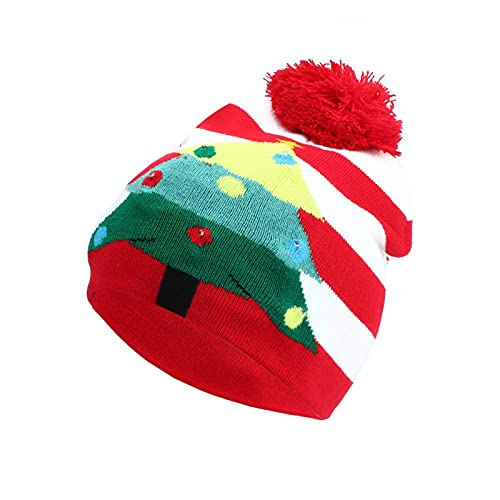 Christmas Hat, Led Luminous Lights Santa Hats Xmas Holiday Hat for Christmas Costume Festive Party Supplies (Red)