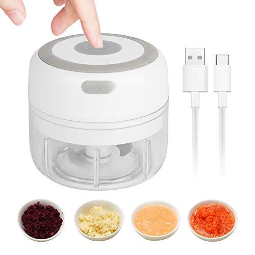 Machacador De Ajos,landzhou Mini Picadora Electrica de Alimentos con Cuchillas Afiladas Picadora de Carne Trituradora de frutas Ajo Carne Verduras y cebollas 100 ml