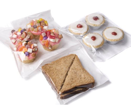 "bag it Plastics Film Fronted Paper Bags Cakes Sweets 10"" x 10"" – Pack of 100"