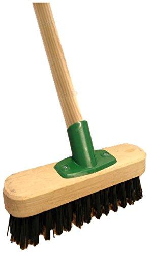 "9"" Stiff Heavy Duty Long Handled Scrubbing Brush Deck Broom with Wooden Handle PVC Bristles"