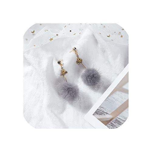 Minimalist Crystal Long Stud Earrings Winter Fluffy Mink Fur Pom Pon Ball Tassel Earrings For Women Girl Jewelry Party Favor,Grey
