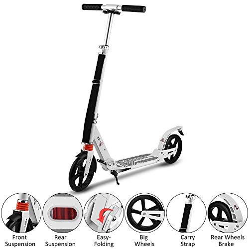 HJRD Scooter City Push Kick Ligero para Adultos con Ruedas Grandes de 200 mm, suspensión City Comfort, Marco Plegable, fácil de Transportar Aluminio Ligero