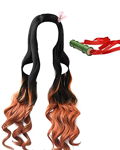 Kamado Nezuko Cosplay Wig and Bamboo Tube, Demon Slayer Costume Natural Black Gradient Dark Orange Long Curly Hair (no bow)