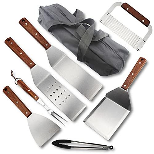 LIZHILIAN 7/8 unids Accesorios de la parrilla de acero inoxidable barbacoa Herramientas conjunto para camping cocina barbacoa utensilios regalos para hombres mujeres