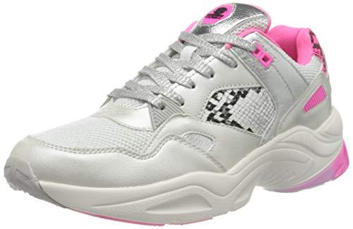 Dockers by Gerli Women's Low-Top Sneakers, White Weiß Neon Pink 596, 8.5