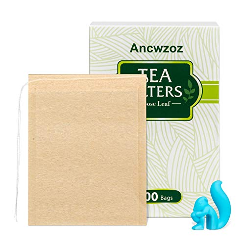 300 bolsas de filtro de té con cordón y 1 clip de taza, material seguro y natural, bolsa de infusor de té vacía desechable para café y té de hojas sueltas, capacidad de 1 taza (2.75 × 3.5 pulgadas)