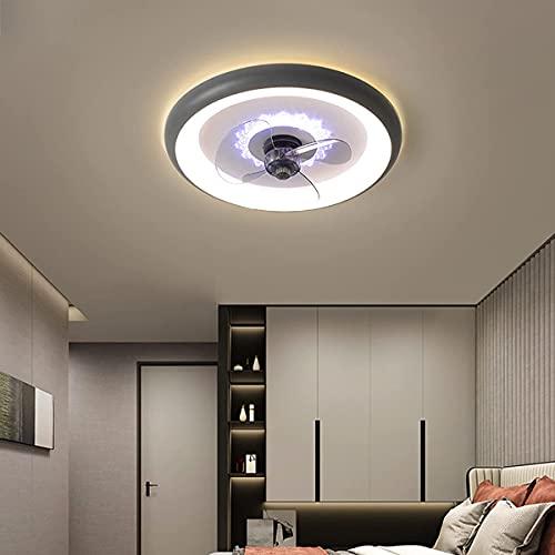 Ventilador de techo silencioso con luz para habitación de niños de 19.6 ', ventilador de techo LED moderno de 80 W con lámpara y control remoto, ventilador de techo regulable, luz de techo, dormitor
