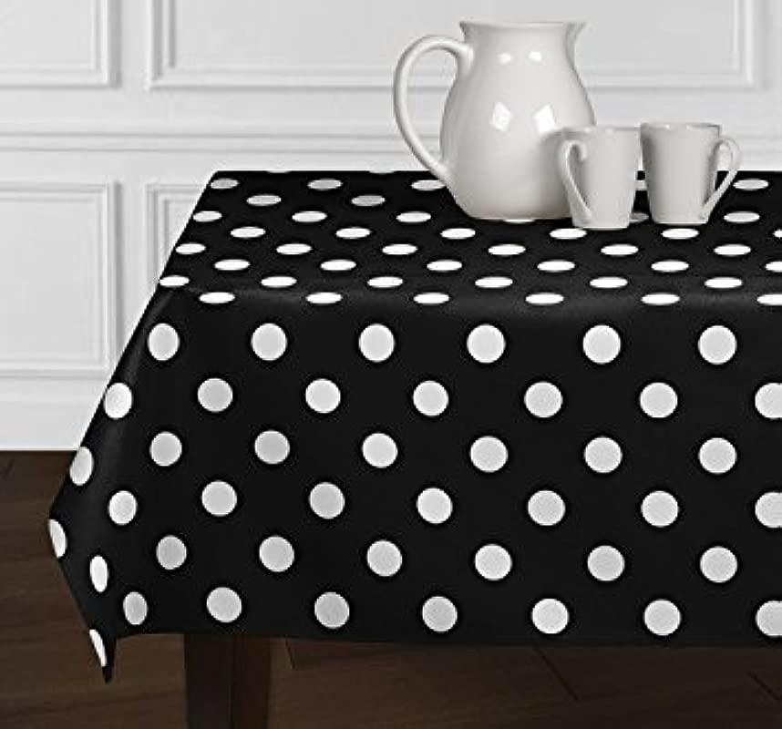 ArtOFabric Decorative Cotton White Polka Dots On Black Tablecloth In 59 X126 Inch