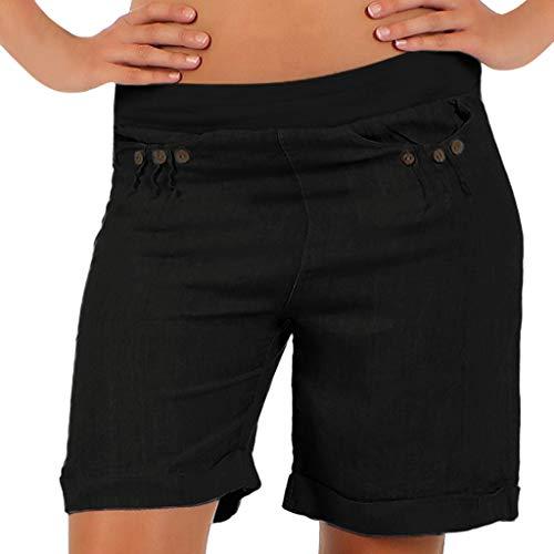 FAMILIZO Pantalones Cortos Mujer Básicos Gimnasio Pantalones Cortos Mujer Verano Deporte Ajustados Cintura Alta Short Yoga Pantalones Calientes Mid Waist Tallas Grandes S~5XL (2XL, Negro)