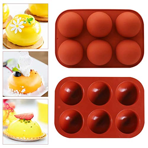 6 Holes Semi Sphere Silicone Mold, Dessert Baking Molds For Making Hot Chocolate, Cake, Jelly, Dome...