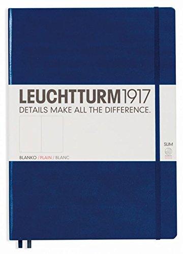 Leuchtturm 1917 - Diario de tapa dura (tamaño A4, liso), color azul marino