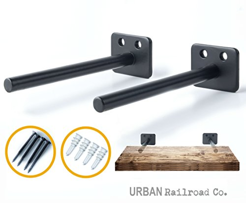 """Solid Steel Floating Shelf Brackets - 6"""" Steel Rod with 1/2 Diameter, Powder Coated Finish, Rustproof Blind Shelf Supports, Flush Fit, HARDWARE ONLY - Bracket Set of 2, Includes Screws & Wall Anchors"""