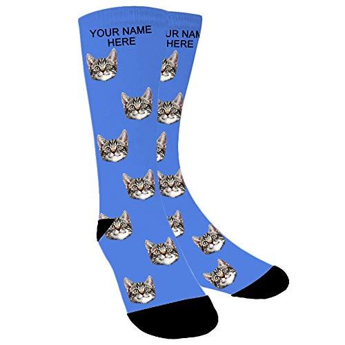ABIsedrin Foto Gesicht Socken Personalisiert, lustige Socken mit Haustiergesicht für ein Geburtstagsgeschenk (Blau)